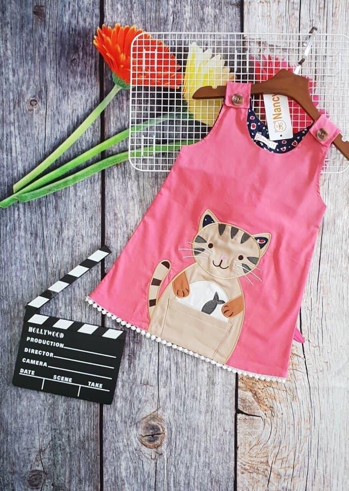 DG109105 Đầm kate thêu đắp mèo 8-12