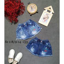 QG07278 Quần váy jean bé gái in tim 1-8