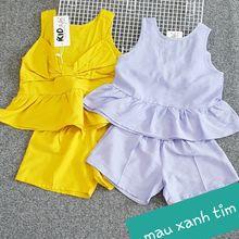 BG079089 - Bộ gái vải đũi, nơ lưng size 1-7