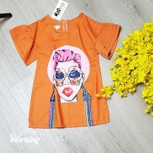 DG220202 Đầm Phong Cách In 3D cô gái Kem Style