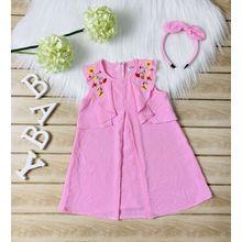 BG050202-Đầm đũi A xếp bèo vai thêu hoa