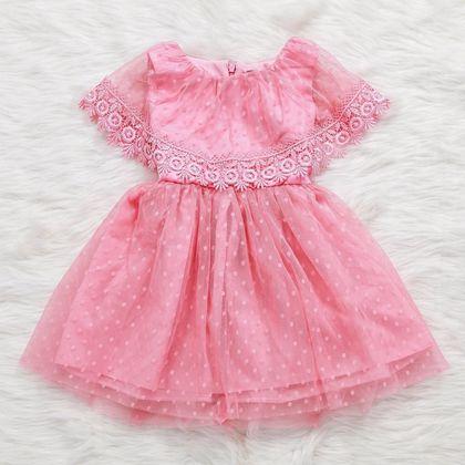 DG134133 Đầm công chúa phối ren bé gái