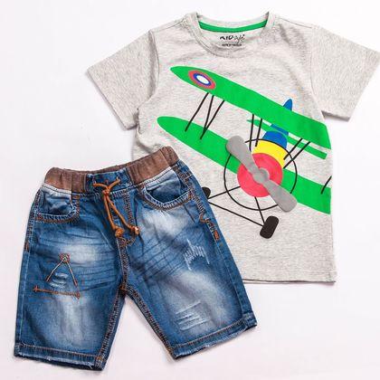 SK00155 Set bé trai quần jean phối áo thun in hoa tiết 1-8