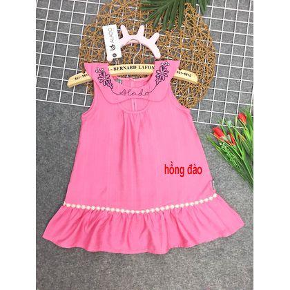 DG020701 -  Đầm tơ sọc cổ thêu hoa