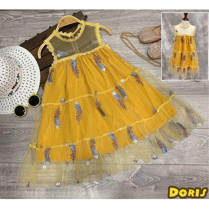DG081001-Đầm voal lông vũ form xoè