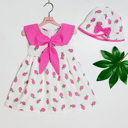 Đầm chanh cổ nơ kèm nón 2-9 DG2010901